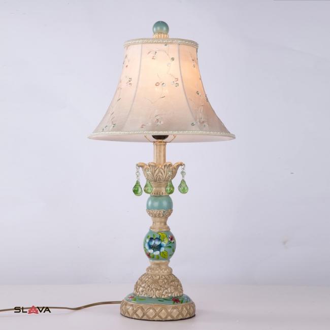 Торшер настольный с абажуром и оливковым декором (YA001/TS)
