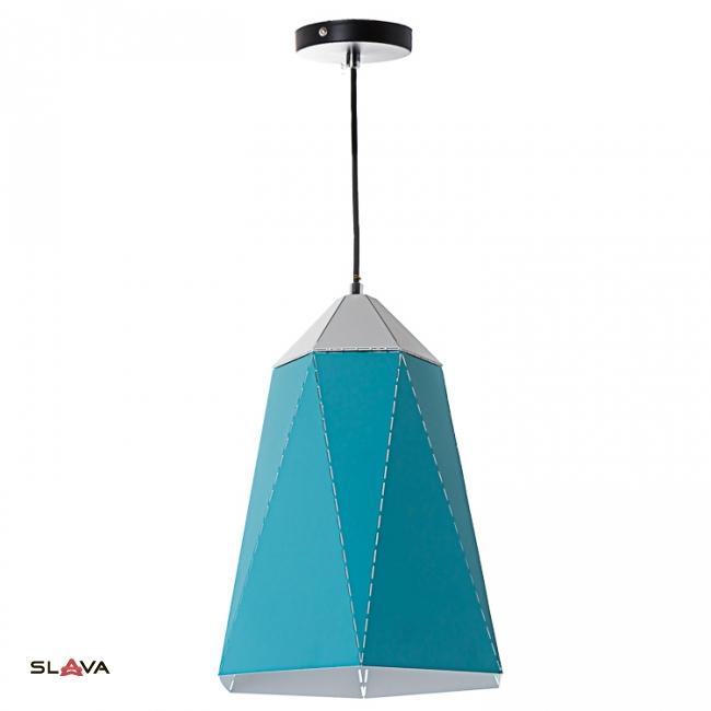 Люстра-подвес голубая с треугольным дизайном вытянутой формы (NI002/S/blue)