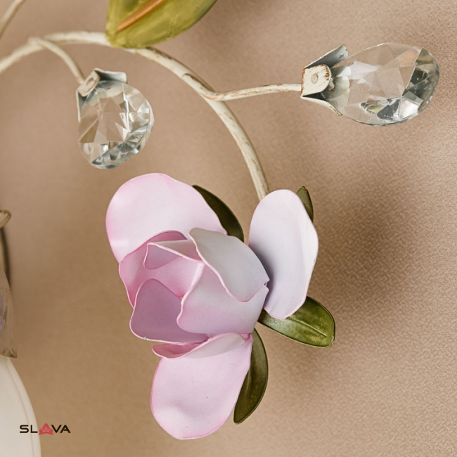 Бра настенное на 2 матовых плафона с цветочным декором (SD001/2W)