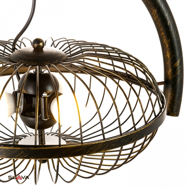 Люстра подвес в форме вентилятора на 3 лампы в бронзе (ZD042A/Br)