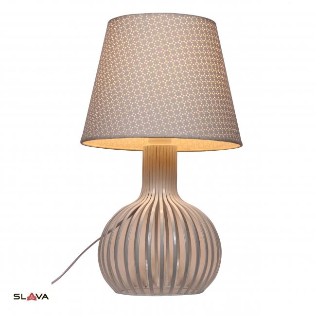 Настольная лампа с белым абажуром и фигурной ножкой (ZD013TW)
