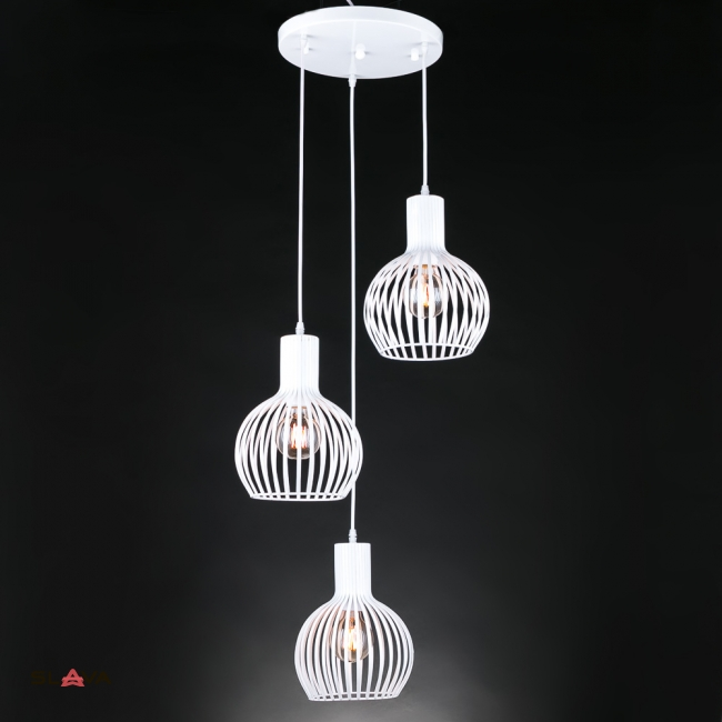 Люстра-подвес многоламповая белая на 3 плафона. (ZD018/3W)