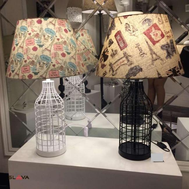 Настольная лампа с принтованным цветным абажуром и основанием в виде бутылки (ZD020TBL)