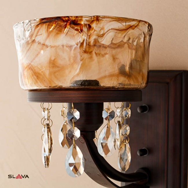 Бра коричневое на 1 стеклянный плафон в янтарном цвете (YA004/1)