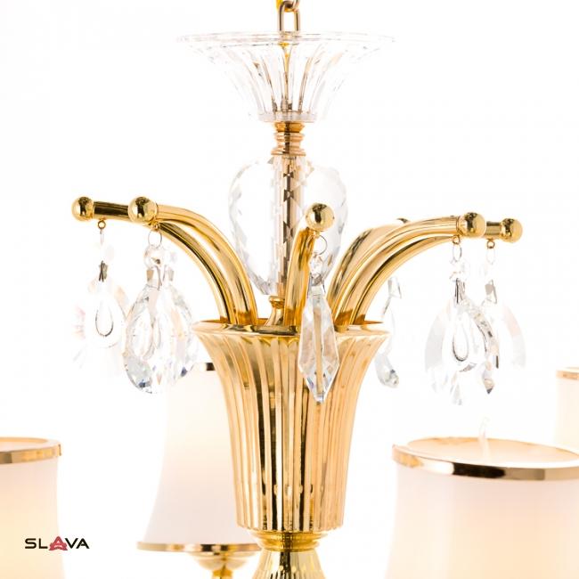 Люстра классическая золото с белым абажуром из стекла (8 ламп) (OU013/8/gold)