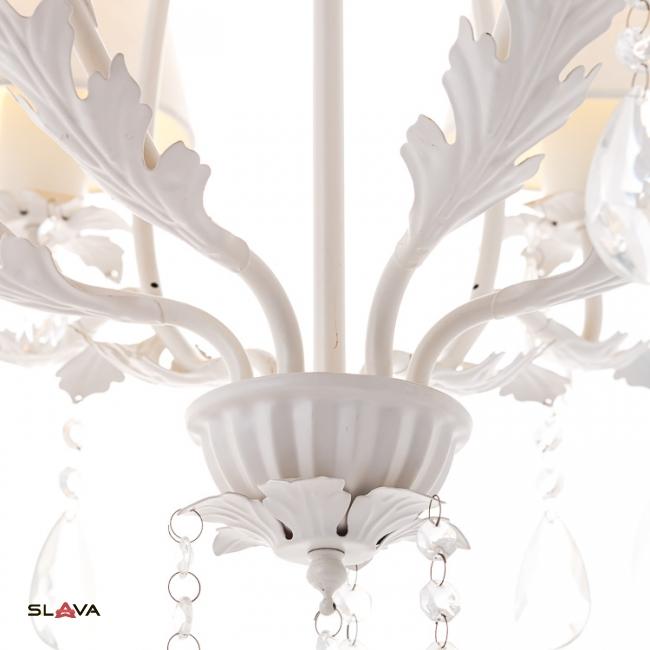 Люстра классическая белая с тканевыми абажурами (6 ламп) (SM001/6)